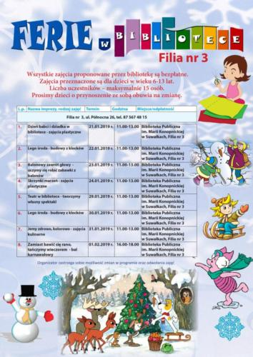 biblioteka ferie 2019 Filia nr 3